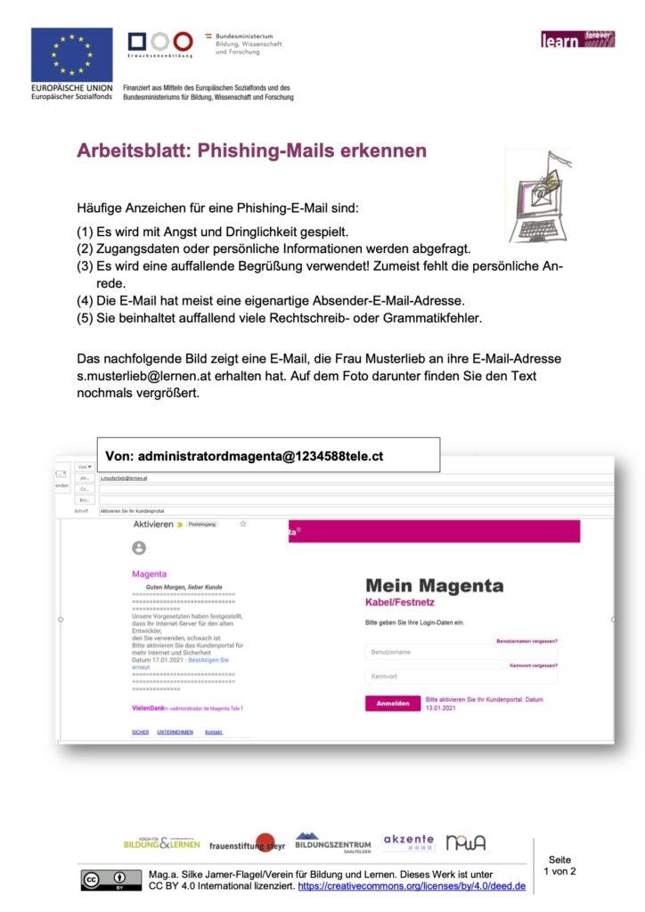 Arbeitsblatt_Phishing-Mails erkennen