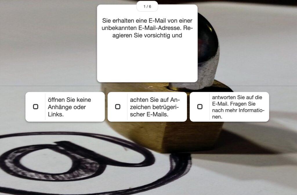 lfe Lernmaterialien, LearningApp-Gefahren bei der Verwendung von E-Mail-Diensten